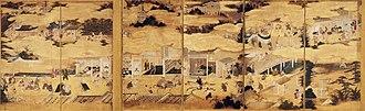 Kanō Takanobu - Image: Rakuchu rakugai zu byobu (Fukuoka City Museum)
