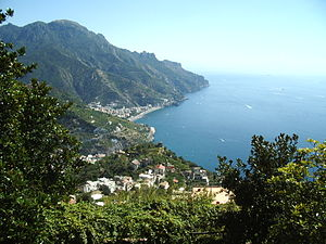 View from Ravello, Italy, down into the bay.