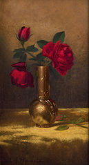 Red Roses in a Japanese Vase on a Gold Velvet Cloth