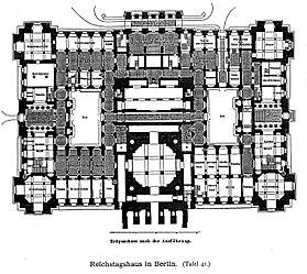 Reichstagsgebäude Berlin Architekt Wallot Dresden, Grundriss Erdgeschoss, Tafel 41, Kick Jahrgang II.jpg