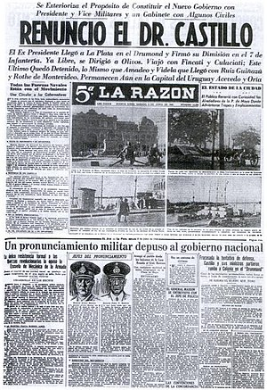 Argentina during World War II - A newspaper announcing the beginning of the Revolution of '43.