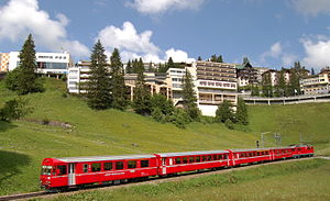 Arosa - A RhB train travelling through Arosa