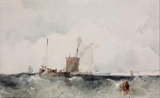 """Peinture de Parkes Bonington """"Sur la côte anglaise"""""""