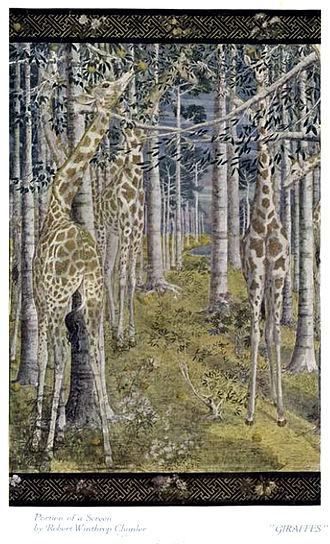 Robert Winthrop Chanler - Robert Winthrop Chanler, 1905, Giraffes, portion of a screen. Print, published 1922