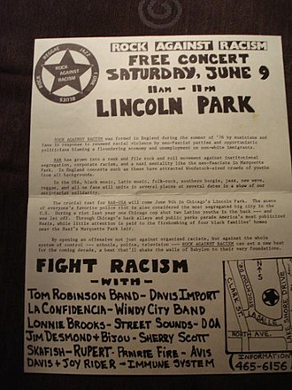 Youth International Party - Leaflet advertising Yippie-sponsored Rock Against Racism concert in Lincoln Park, Chicago, June 9, 1979