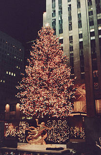 public Christmas tree of note at the Rockefeller Center on the Manhattan Island in New York City, New York, USA