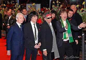 Shine a Light (film) - The Rolling Stones (from left to right: Charlie Watts, Ron Wood, Keith Richards, Mick Jagger) at the Berlin Film Festival (Filmfestspiele Berlin/Berlinale) in 2008 for the world premiere of the concert documentary.