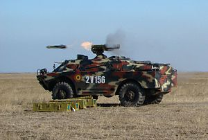 9M113 Konkurs - Romanian 9P148 Konkurs launching a missile during a military exercise