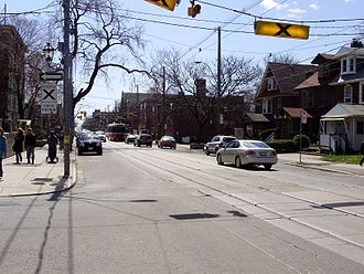 Roncesvalles Avenue - The 504 King streetcar provides regular transit service along the length of Roncesvalles Avenue