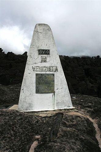 Uiramutã - Marker on the Brasil-Venezuela-Guiana border, Monte Guyana