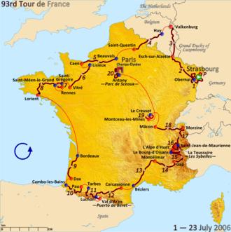 2006 Tour de France - Route of the 2006 Tour de France