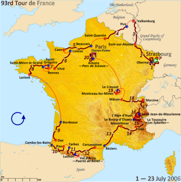 Map of France with the route of the 2006 Tour de France