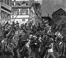 Die Auflösung des Rumpfparlaments durch württembergische Truppen – nach einer Buchillustration von 1893 (Quelle: Wikimedia)