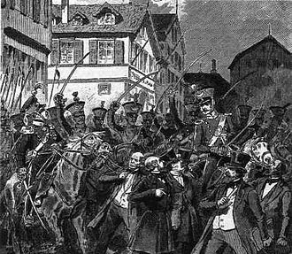 Imperial Constitution campaign - Illustration of the dissolution of the rump parliament on 18 June 1849 in Stuttgart: Württemberg dragoons drive apart a demonstration by the banned MPs (1893 book illustration)