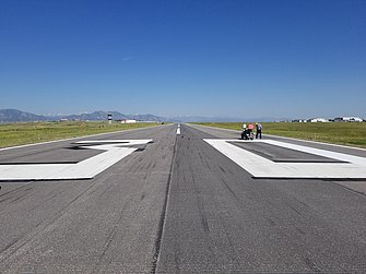 Runway Identifying numbers being painted at Rocky Mountain Metropolitan Airport (KBJC) Runway Number Painting.jpg
