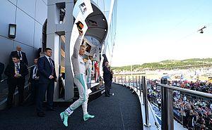 2016 Russian Grand Prix - Nico Rosberg on his way to the winner's podium