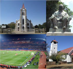 From top left clockwise: Dutch Reformed Church, Statue of Paul Kruger, Old Anglican Church, Royal Bafokeng Stadium