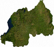 Satellite image of Rwanda, generated from raster graphics data supplied by The Map Library