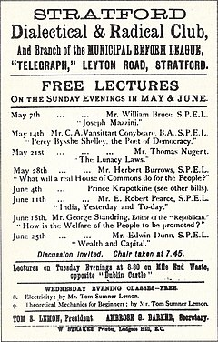 advertisement for the club showing upcoming lecturers