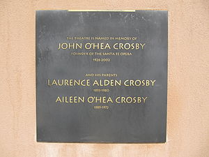 John Crosby (conductor) - Plaque outside The Crosby Theatre commemorates the contributions of the founding general director, John Crosby, and his parents Lawrence and Aileen