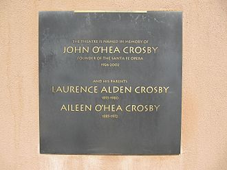Santa Fe Opera - Plaque outside the Crosby Theatre commemorating the contributions of the founding general director, John Crosby, and his parents Lawrence and Aileen
