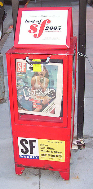 Alternative newspaper - A SF Weekly newspaper box on Sansome Street in San Francisco