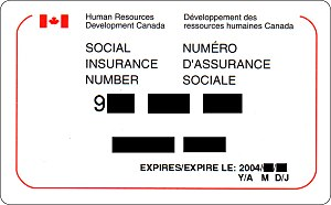 Social Insurance Number - A social insurance number card. Note the date of expiration; this implies that the holder is neither a permanent resident, nor a Canadian citizen.