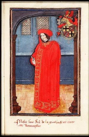 Louis de Gruuthuse - Miniature portrait inscribed Mesire Lois Sig(neu)r de la Gruuthuse et Comte de Wincestre, from a 1473 manuscript containing the statutes of the Order of the Golden Fleece
