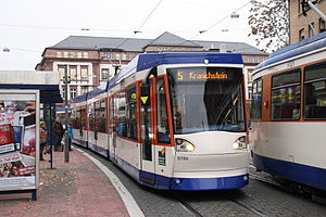 Trams in Darmstadt - Tram at Willy-Brandt-Platz