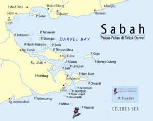 Sipadan - Location of Sipadan Island in Darvel Bay of Celebes Sea