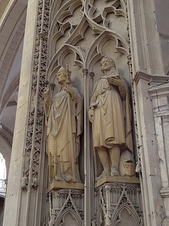 Audoin (bishop) - Statue of St Audoin (left) and St Waninge (right), in Fécamp, France.
