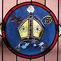 Saint Brigid of Kildare Church (Dublin, Ohio), Hendricks Hall - stained glass, Miter.jpg