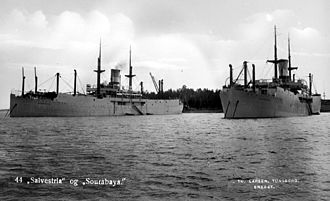Harold Salvesen - Factory ships Salvestria and Sourabaya at anchor at Jarlsø in Norway, c. 1930