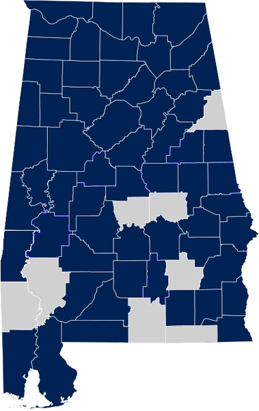 Same-sex marriage in Alabama by county