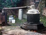 A crude moonshine (samogon) device in an Armenian village.
