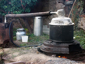 Moonshine by country - A crude moonshine (aragh) device in an Armenian village