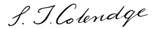 Samuel Taylor Coleridge signature