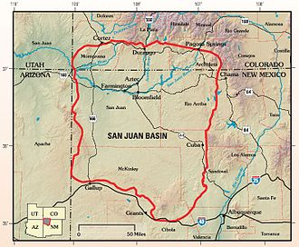 San Juan Basin - The San Juan structural basin is primarily in New Mexico and the southeast corner of the Colorado Plateau.