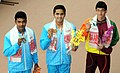 Saurabh Sangverkar (INDIA) won Gold Medal, Sajan Prakash (INDIA) won Silver Medal and Kyle Abeysinghe (SRI LANKA) won Bronze Medal, in the Men's swimming 400m Freestyle category, at the 12th South Asian Games-2016.jpg