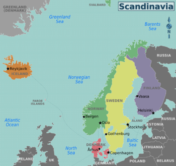 Nordic countries travel guide at wikivoyage map of the nordic countries gumiabroncs Gallery