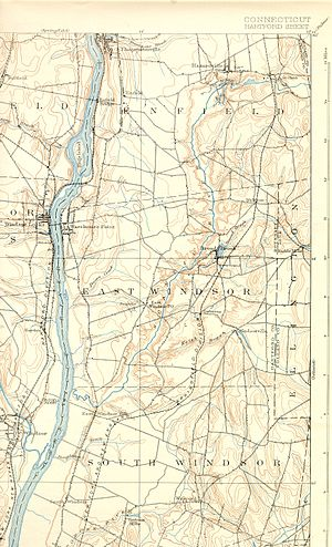 Scantic River - The lower Scantic River and environs, depicted on an 1892 topographic map.