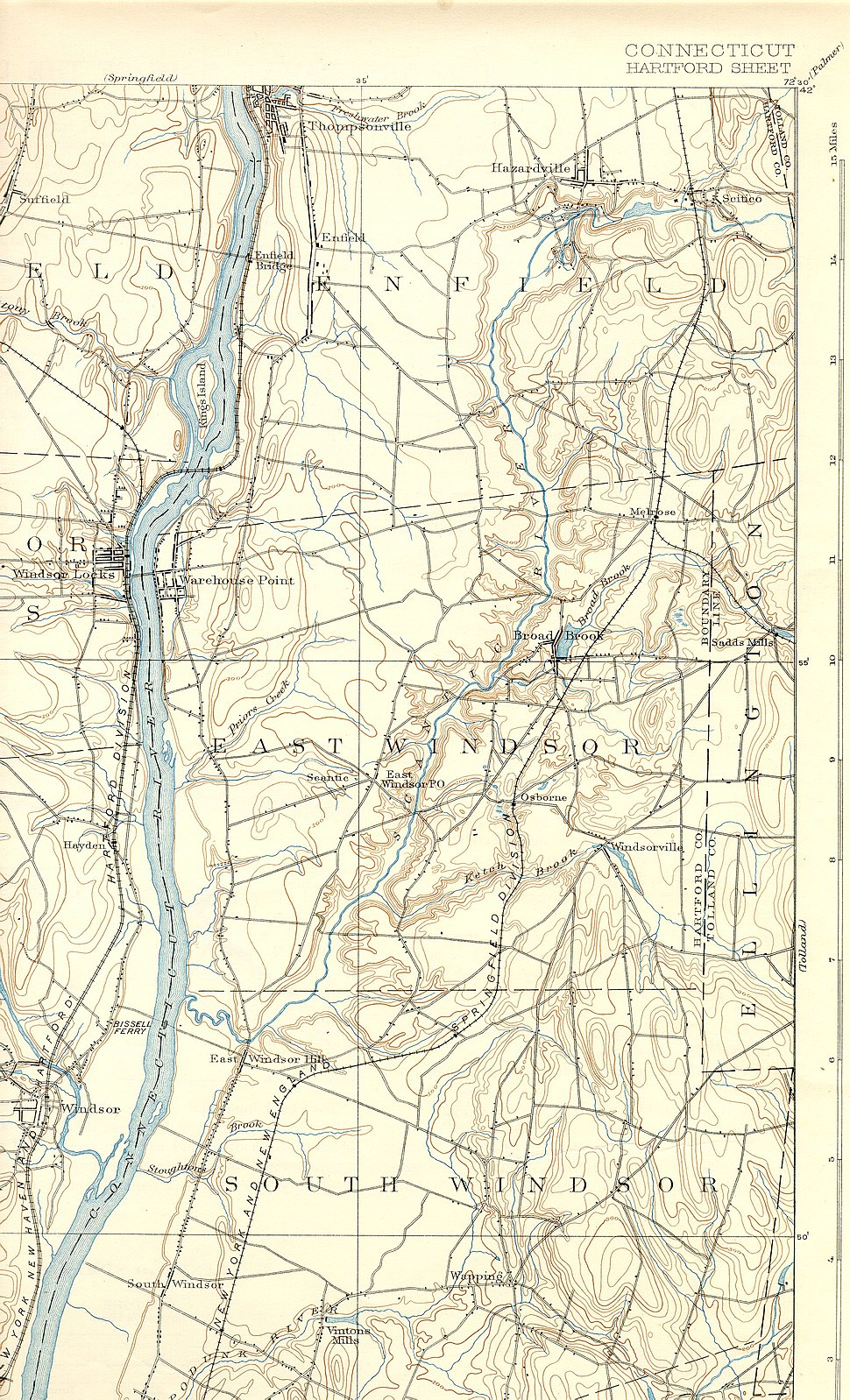 Scantic River (Connecticut) map