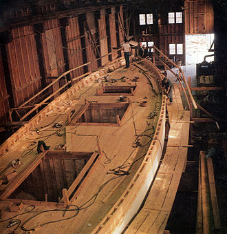 Boat building - The schooner Appledore II under construction