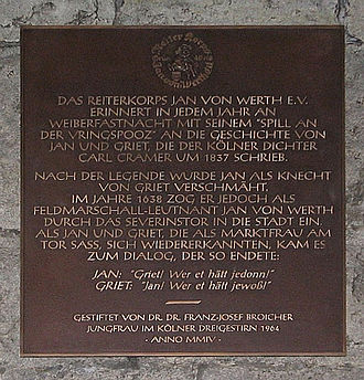 Johann von Werth - The Legend of Jan and Jriet at the St. Severinus City Gate of Cologne