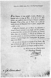 Carta de acompañamiento a la entrega del título de Ciudadano Honorario de la República Francesa (1792)