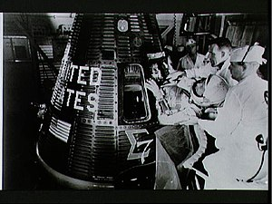 Sigma Pi - Brother Wally Schirra entering capsule Sigma 7 (1962)