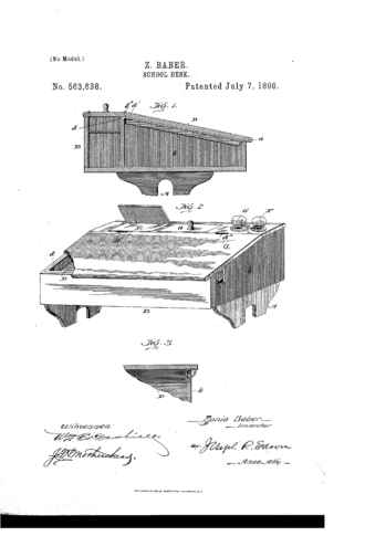 Zonia Baber - School desk design patented by Zonia Baber on July 7, 1896.