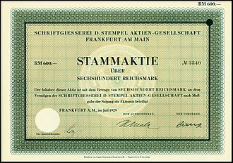 Stempel Type Foundry - Share of the Schriftgiesserei D. Stempel AG, issued July 1929