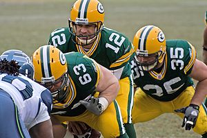 Snap (gridiron football) - The Packers snapping the ball.