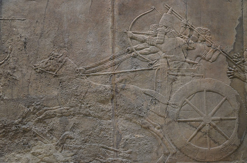 Sculpted reliefs depicting Ashurbanipal, the last great Assyrian king, hunting lions, gypsum hall relief from the North Palace of Nineveh (Irak), c. 645-635 BC, British Museum (16722324812)